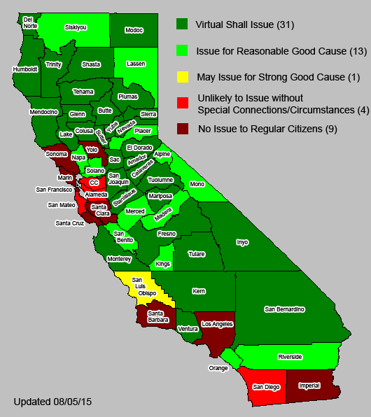 "Map of CCW ""Good Cause"" standards by county. Color coding represents a range of local policies, varying from virtual shall issue to virtual no issue."