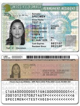Example of a United States Permanent Resident Card
